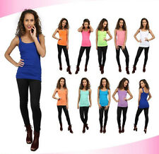 New Women's Plain Ribbed Stretchy Ladies Rib Vest Top T-Shirt Tee Rib Strap 8-14