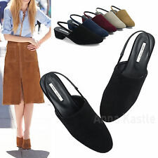 AnnaKastle New Womens Faux Suede Slingback Mule Backless Loafer US 5 6 7 8
