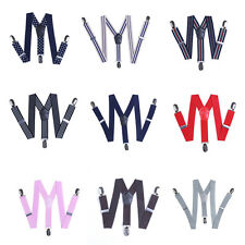 Boys Girls Kids Child Baby Children Clip on Y Back Braces Elastic Suspenders