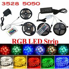 5M 10M 15M 3528 5050 RGB SMD Flexible Light LED Strip IR Remote Power Supply