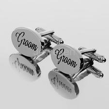 SILVER OVAL Mens Shirt Cufflinks Cuff Links Accessories Wedding Party Gifts