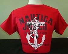 NEW MEN'S NAUTICA JEANS CO. S/S GRAPHIC SOLID CREWNECK T-SHIRT, RED, PICK A SIZE