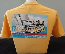 NEW MEN'S NAUTICA S/S GRAPHIC SOLID CREWNECK T-SHIRT, YELLOW, PICK A SIZE