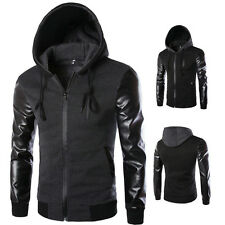 Stylish Mens Coat Casual Hooded Outwear PU Leather Patchwork Hoodies Jacket