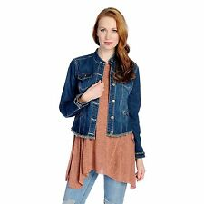 Indigo Thread Co. Stretch Denim Long Sleeved Four-Pocket Frayed Jacket