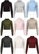GIRLS LONG SLEEVE POLO TURTLE NECK CHUNKY CABLE KNITTED CROP TOP KNIT JUMPER