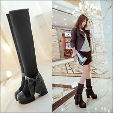 Womens Knee High Boots Block heel Platform Stretchy Cuffed Ankle Boots