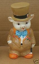 Vintage Small World Importing hard plastic Pig in Tuxedo piggy bank Pig #1