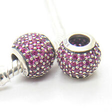 Genuine S925 Silver Pave lights Red CZ Charm