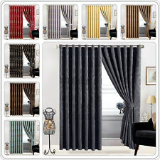 Ring Top Jacquard Curtains Top Quality Fully Lined Pair Eyelet Curtains