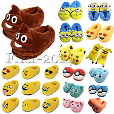 3D Emoji Minion Cartoon Animal Soft Plush Slippers Winter Warm Indoor Home Shoes