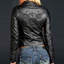 Sinful Womens DAGGER Jacket S NWT NEW Wings Heart Black PU Leather Affliction