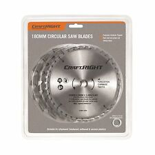 Craftright CIRCULAR SAW BLADES 3 Pieces, Tungsten Carbide Tipped -180 Or 235mm