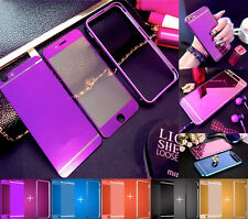 For iPhone 7 6 5 Front + Back Mirror Tempered Glass Metal Bumper Frame Case