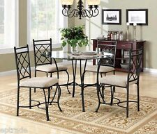 Metal Dining Set Kitchen Table Microfiber Upholstered Chairs Glass Top Seat