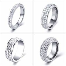 Punk Stainless steel Cubic Zirconia Wedding Womens Mens Rings Size 7 8 9 10 11