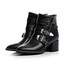 Punk Style gothic Fashion Womens ankle Boots Buckle Pointed toe chunky heels New