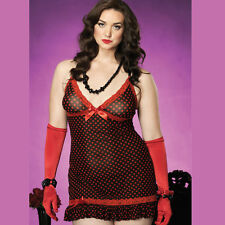Ladies Leg Avenue Plus Size 2pc Sexy Lace Trim Dotted Mesh Chemise And G-String
