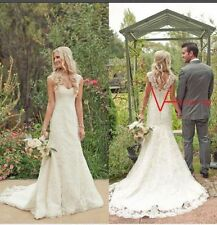 New White/Ivory Lace A-Line Wedding Dress Bridal Gown Stock Size US4-16