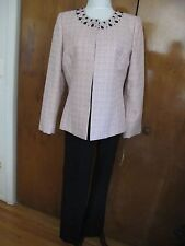 Tahari Asl Women's Pink/Black Pant Suit Set Size 2P, 10 Retail Value $280 NWT