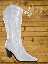 Helen Heart Sequin Cowboy Boots Silver *Brand New All Sizes*