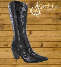 Helen Heart Sequin Cowboy Boots Black *Brand New All Sizes*