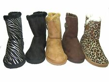 Qupid Eskimo style faux suede fur trim lined warm comfort ankle buckle boots