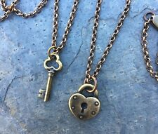 Antiqued Brass Key to My Heart Necklace -Love, couples & friendship- 2 necklaces