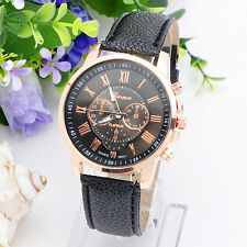 New Trendy Style Romen Number Display Watch Leather Material Wrist Watches HH