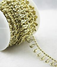 17mm Gold Pearl Rhinestone Chain Trims Sewing Crafts Costume Applique LZ158