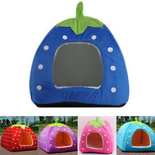 Strawberry Pet Small Dog Cat Bed House Soft Kennel Puppy Warm Cushion Basket Pad