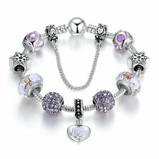 Mother's Day 925 Silver Charms Bracelet w Purple LAMPWORK BEADS & Crystal
