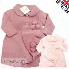 GIRLS BABY SPANISH KNITTED COAT BONNET SET POM POM DUSTY PINK BABY PINK 3M-9M