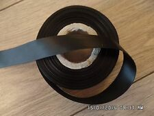 25mm x 20 Metres Full Roll-Quality Double Sided Face Satin Ribbon-Black.