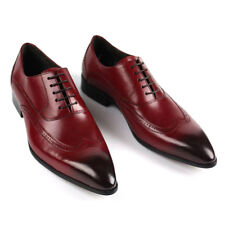 Mens Pointy Toe Business REAL Leather Brogue Carved Retro Formal Dress Shoes Sz