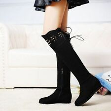 Hot Fashion Womens Suede Wedge Heels Winter Side Zipper Riding Knee High Boots