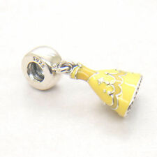 Authentic Genuine S925 Silver Belle Dress Dangle With Yellow Enamel Charm