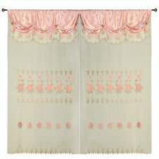 Rose Pink Room Decor Embroidery Sheer Valence Window Curtain Drapes 60x90+18""