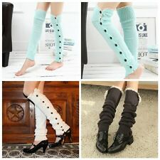 Women Girl`s Knitted Long Leg Warmers Socks Crochet Lace Trim Cuffs Boot Socks