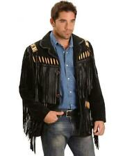 QMUK Mens Black Suede Western Style Leather Jacket With Fringe, Bones and Beads