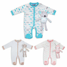 2 Piece Baby Boys Girls Unisex Romper Sleepsuit & Cuddly Soft Toy by BonjourBebe