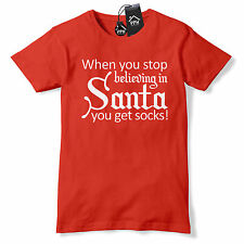 Stop Believing You Get Socks Funny Christmas T Shirt Present gift Novelty CH34