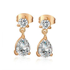 Korean Jewelry 18K Gold Plated Teardrop Crystal Cute Dangle Stud Earrings
