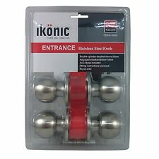 Ikonic ENTRANCE SET Double Cyclinder Deadbolt Door Knobs 2 Sets- Nickel Or Brass