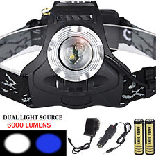 6000 Lumens Zoom XM-L 2xT6 LED Rechargeable 18650 Headlamp Headlight Lamp Torch