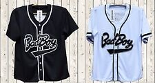 Biggie Bad Boy #10 Baseball Jersey Stiched Buttons Short Sleeve Black White