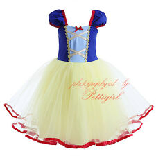 Baby Girls Snow White Costume Princess Kids Party Pageant Fancy Dress Tulle Tutu