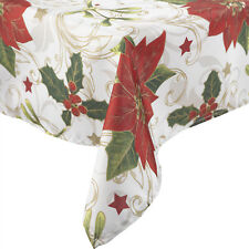 Manita Vintage Christmas Table Linen Festive Holly Poinsettia Xmas Tablecloth