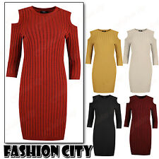 Henry Sexy Ladies Rib Knitted Cold Cut Out Body Con Shoulder Long Sleeve Dress