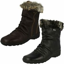 Ladies Remonte Water-Resistant Wool Lined Leather Ankle Boots D0593 ~ K